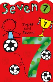 Seven Super Cool Birthday Card with Badge